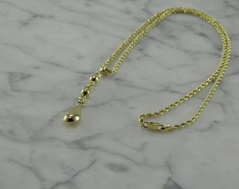14K Yellow Gold Tear Drop Pendant Necklace (16 inches)