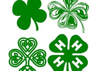 Shamrock set of 4 St Patricks Day 4H Clover SVG Vector File