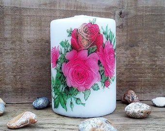 Candle-Floral candle-Wax candle-Decorated candle-decoupage candle-pillar candles-gift candles