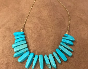 Turquoise and Gold Statement Necklace