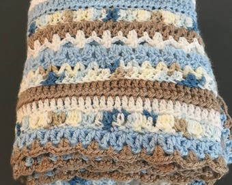 Crochet Baby Blanket, Blue and Brown Striped, Baby Boy Blanket, Baby Blanket Handmade, Baby Shower Gift