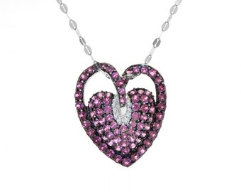 1.50 Carat Diamonds Heart Pendant Lab-Created Ruby 14K White Gold