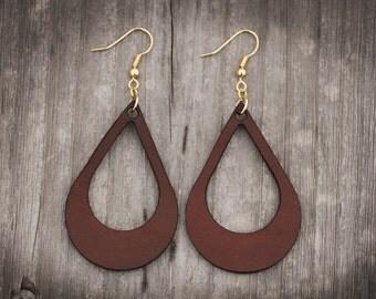 Leather Teardrop Earrings | Dangle Earrings | Leather Hook Earrings
