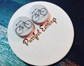 Vintage wooden bicycle earrings