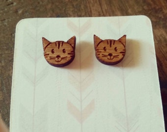 Wooden cat face bamboo earrings