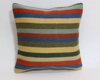 Anatolian Kilim Pillow Throw Pillow 16x16 Multicolor Stirped Kilim Pillow Ethnic Pillow Vintage Kilim Pillow SP4040 1598