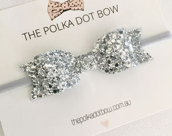 Silver Baby Headband OR Hair Clip, Silver Glitter Bow, Silver Baby/Girls Headband,Christmas Headband,Baby Headband,Silver Baby Headbands