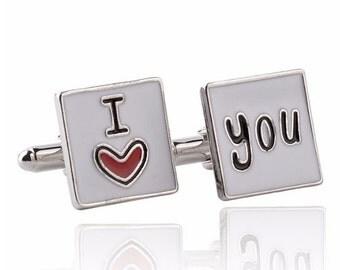 I Love You Cufflinks -k77  - Free Gift Box