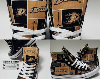 Bling Anaheim Ducks Converse, NHL shoes, bedazzled chucks, hockey sneakers, birthday, California professional sports team, licensed fabric