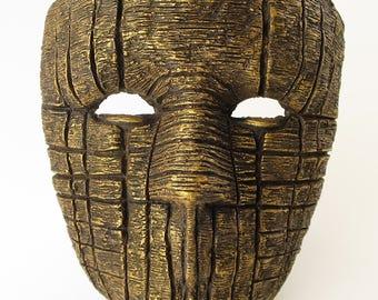 Bronze Paper Mache Mask Golden Black Death Eater Mask Scary Mask Creepy Mask Adult Mask