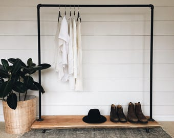 Live Edge Cedar Industrial Pipe Clothing Rack