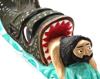 Jonah / folk statue / polish folk art / wooden sculpture / J. Zandarowski