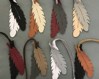 Leather Feather Bag Charms (Series IV Winter Neutral Colors)