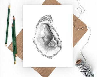 Oyster Art | Beach Decor | Oyster Shell | Sea Shell Art | Sea Shells | Beach Art Print | Beach Wall Art | Coastal Wall Art | Shell Art