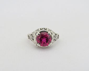 Vintage Sterling Silver Ruby Filigree Ring Size 6