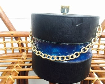 Vintage Retro Black with Blue Strip and lid Ice Bucket with Gold Chain MCM