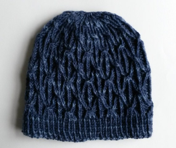 Chunky Aran Beanie: Man's knit hat in quality wool; made in Ireland. Original design; handknit. Denim Blue colour. Unique, one of a kind.