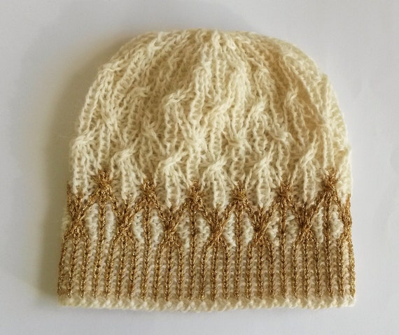 Aran Gold Beanie: handknit wool hat with gold detail. Original design. Unique hat. Made in Ireland. Princess crown hat! Cream wool beanie.