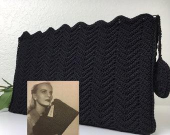 40's Lg Crocheted Cord Clutch
