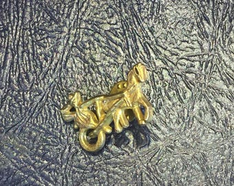 Vintage brass horse drawn carriage pin