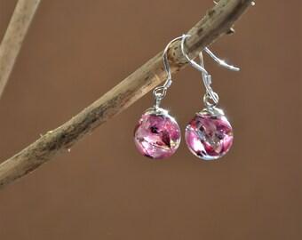 Pink flower earrings with eco resin and sterling silver hooks, handmade in Ireland, botanical earrings, heather, knotweed