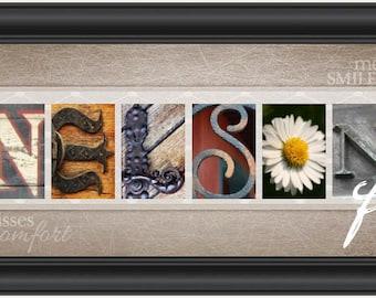 Family Letter Art - Sepia Ribbon