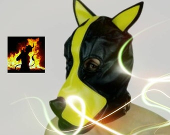 Pet play dog mask with a plug gag