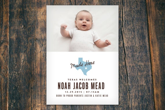 Made in Texas Country Birth Announcement