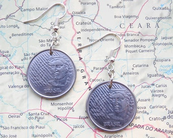 Brasil coin earrings - 2 different designs - made of original coins from Brasil