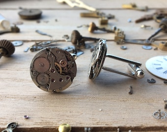 Watch movement cuff links -metal medium round - nickel free - steampunk jewelry - made by: Handmade by Charlie