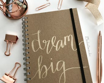 New! A5 hand drawn journal journal diary notebook 'dream big' personalised quote book mandala embossed copper bronze