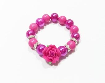 Girls fushcia pink rose flower pearl bracelet