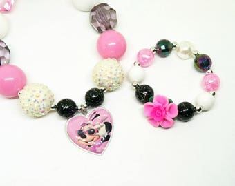 Minnie Mouse chunky bubblegum necklace bracelet jewelry set with chunky or mini gumball bracelet