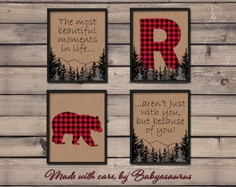 Rustic Buffalo Plaid Wall Art - Set of 4 Prints - Personalized Letter of your choice - Rustic Nursery Wall Art - 8x10 - Printable