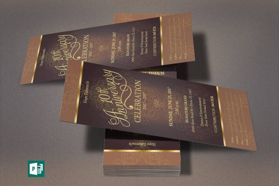 Gold Church Anniversary Publisher Ticket Template from Godserv on – Ticket Template Publisher