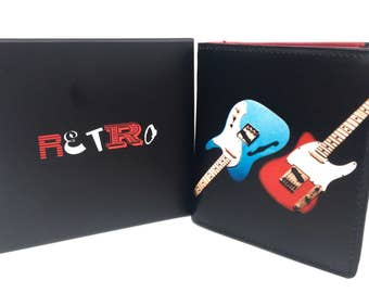 Guitar mens premier quality leather trifold  wallet