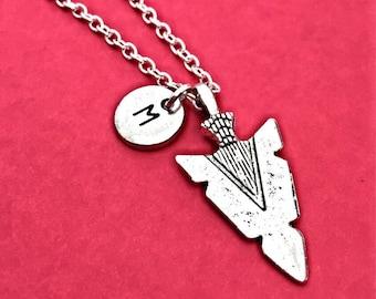 Charm Necklace with Arrowhead,Silver Arrowhead Necklace, Arrow Jewelry,  personalized, initial, Initial,Custom Arrowhead Gift,Arrowhead Gift