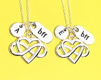 Forever Charm Necklace, Best Friend Necklace, Love Necklace, Set of 2 BFF, Personalized, Initial Charm, Friend Jewelry,Couple's Necklace Set