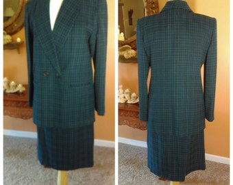 Vintage 2 Pieces Suit Plaid Blazer with Skirt Size 10 Business Attire Office Clothing By Adolfo Studio