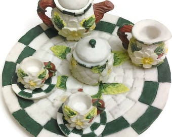 Miniature Tea Set  Collectible Tea Set Daisies Resin Material By Young's Inc. 1995
