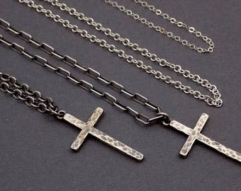 Mens Silver Cross Necklace. Free Shipping. Unisex Large Sterling Cross. Oxidized. Heavy Chain. Hammered Modern Cross Pendant. 1 1/4""