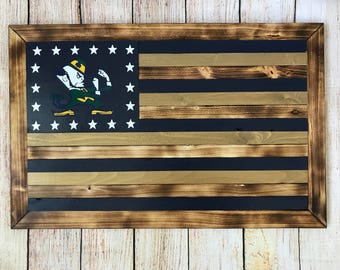 Wooden Notre Dame fighting Irish flag - Customizable