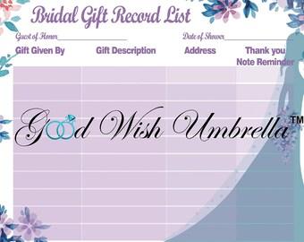 Bridal Shower Record Gift List