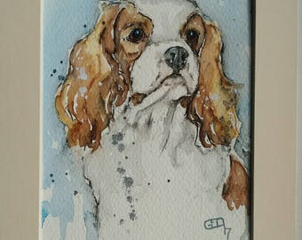 King Charles spaniel art painting dog art pet portrait original watercolour painting of a Cavalier king Charles spaniel