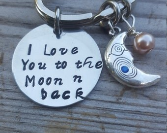 I love you to the Moon -n- back ,Moon and Back Keyring  ,Personalize this .