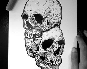 HEADSHOT - Art Print - Human Skull Design Illustration - Dotwork Linework - Dark Art - Tattoo - Blackwork