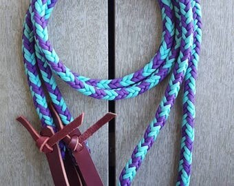 Hand braided purple and turquoise 9ft reins