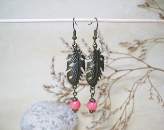 Pink Coral Earrings Pink Coral Jewelry Dangle Earrings Vintage Earrings Gemstone Earrings Beaded Earrings Romantic Earrings Gift for Her