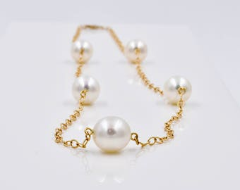 Cultured Pearl Station Necklace, 14K Yellow Gold, 9mm