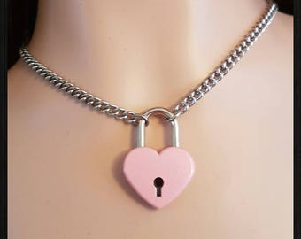 BDSM submissive Day Collar,Stainless Steel Chain with a Pink Metal Padlock & 2 Keys.